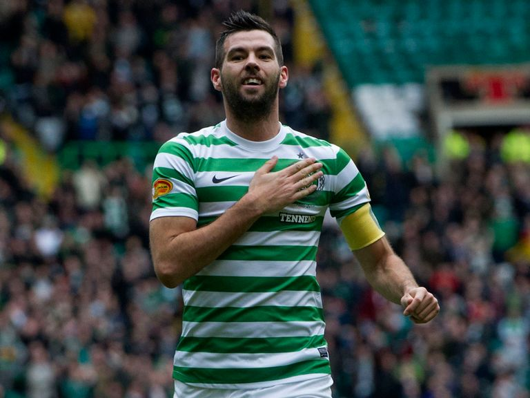 Joe Ledley celebrates his goal for Celtic.