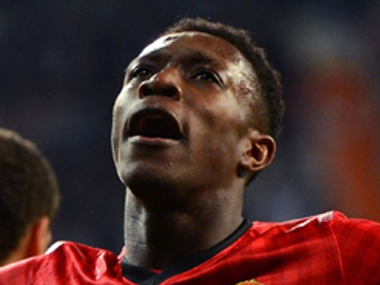 Danny Welbeck celebrates after heading Manchester United in front against Real Madrid
