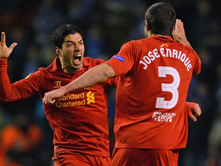 Jose Enrique: Hopes Suarez (l) will stay at Anfield