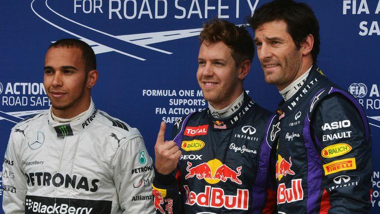The Qualy top three: Hamilton and Webber flank polesitter Vettel