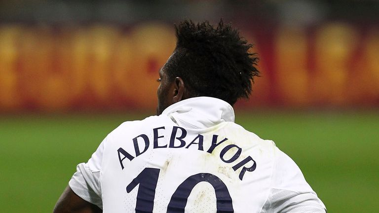 Emmanuel Adebayor: Tottenham striker pictured during the game against Inter Milan