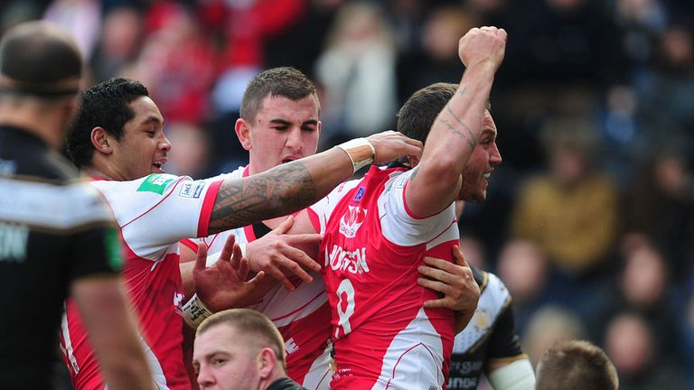 Josh Hodgson: Celebrates during Good Friday's Hull derby
