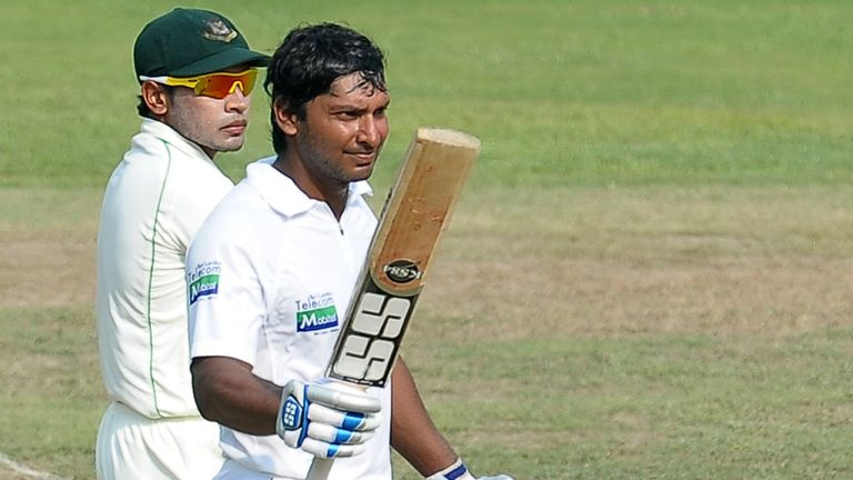 Kumar Sangakkara celebrates his century against Bangladesh in March