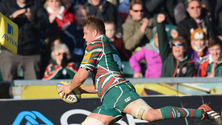 Edward Slater touches down for one of his two tries at Welford Road