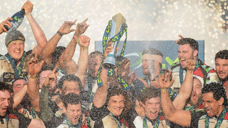 Harlequins celebrate last season's LV= Cup triumph