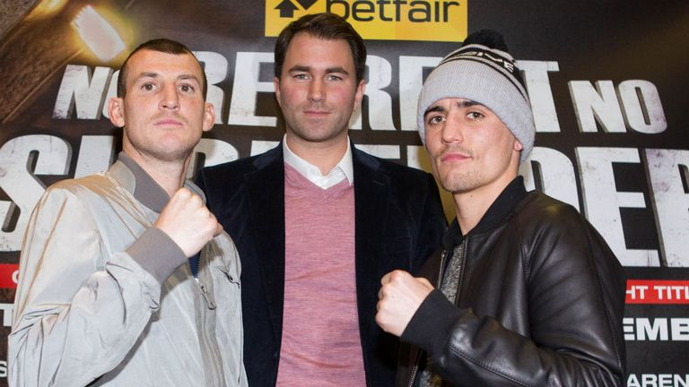 Derry Mathews (L) and Anthony Crolla with promoter Eddie Hearn (Pic Mark Robinson)