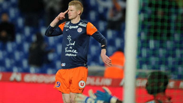Gaetan Charbonnier celebrates his Montpellier goal