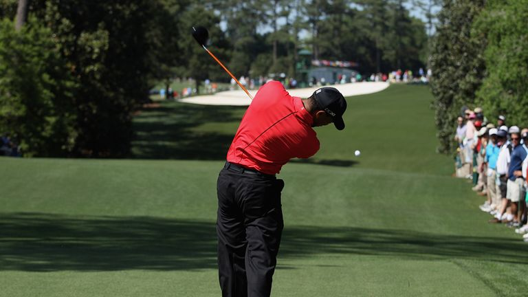 Tiger Woods in action at the Masters