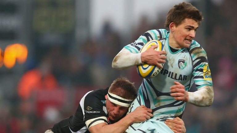 Toby Flood is tackled by Exeter's Carl Rimmer