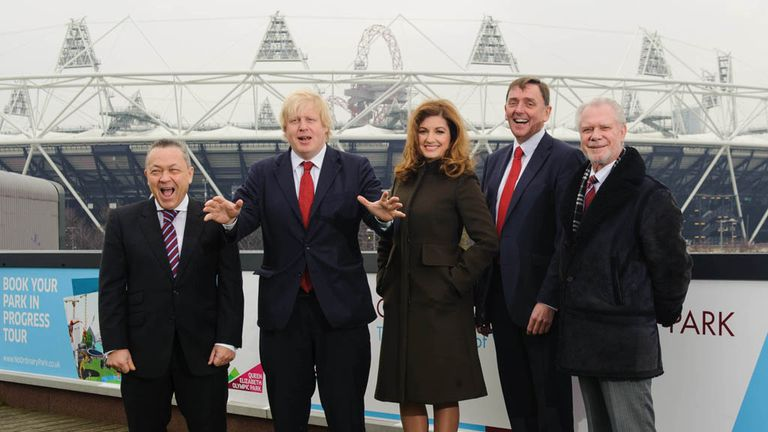 Karren Brady (c): With other members of the West Ham board and Boris Johnson at the Olympic Stadium