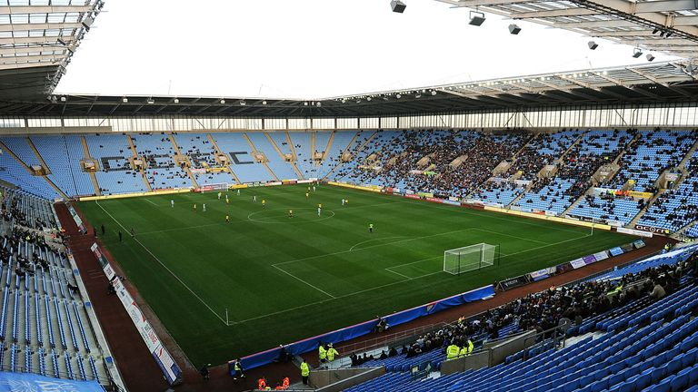The pitch at the Ricoh Arena is being prepared for Friday's game against Doncaster
