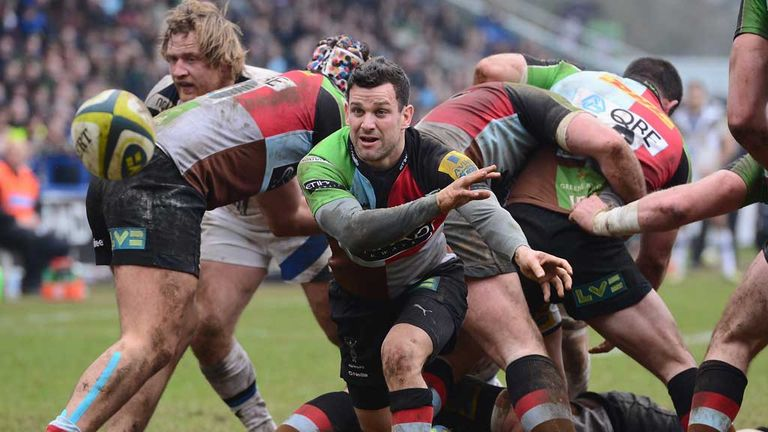Karl Dickson: Harlequins scrum-half in action against Bath