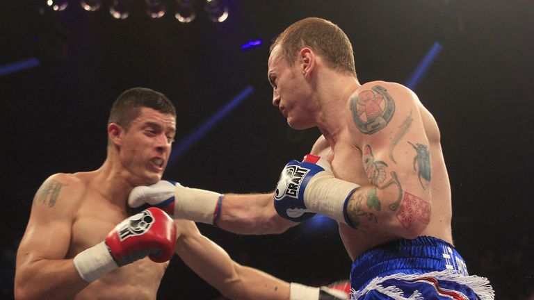 George Groves moves in for the kill against Dario Balmaceda (Pic Lawrence Lustig)