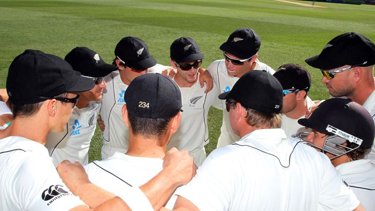 New Zealand gather for a team huddle