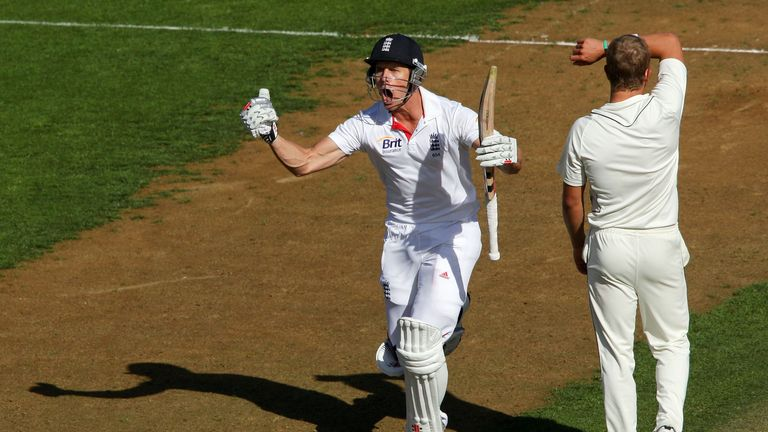 Nick Compton celebrates his century in Wellington