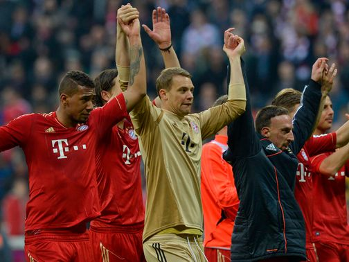 Bayern Munich celebrate their victory over Dusseldorf