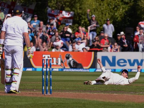 Ian Bell is caught by Hamish Rutherford at cover