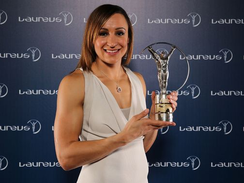 Jessica Ennis with her trophy.