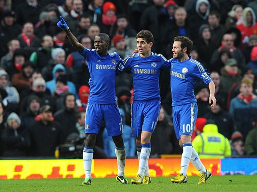 Ramires scored the equaliser as Chelsea drew 2-2 with Manchester United.