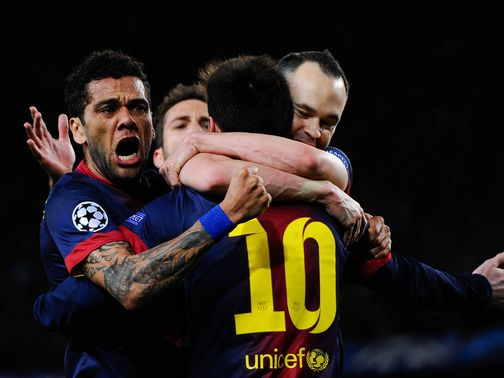 Barcelona celebrate at the Nou Camp