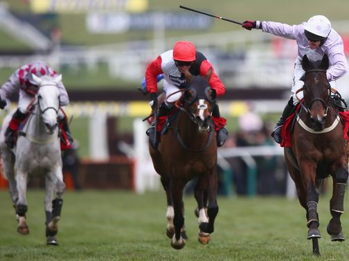 Smad Place (left) battles on for third in the World Hurdle