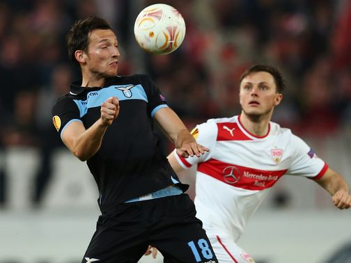 Libor Kozak and William Kvist battle for the ball