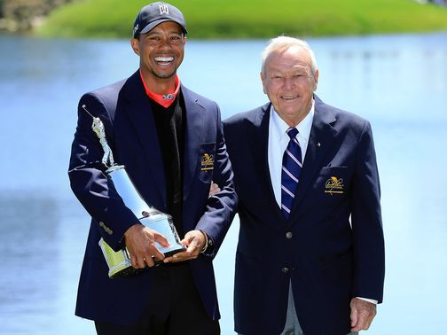 Tiger Woods celebrates with Arnold Palmer at Bay Hill