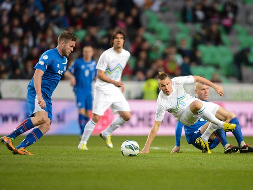 Aron Gunnarsson in action for Iceland.