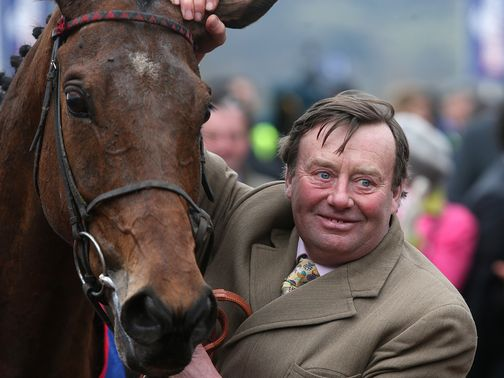 Trainer Nicky Henderson with Gold Cup hero Bobs Worth