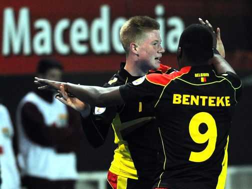 Kevin De Bruyne celebrates after scoring.