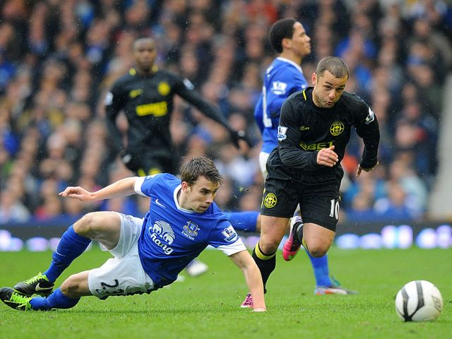 Seamus Coleman is left grounded by Shaun Maloney