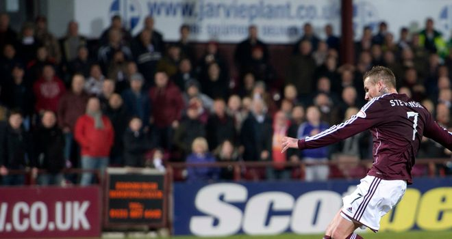Ryan Stevenson: Gave Hearts the lead in their 2-0 victory over St Johnstone