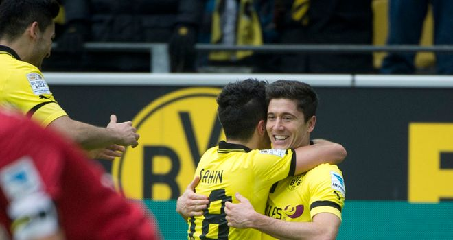 Robert Lewandowski twice found the net in Dortmund win