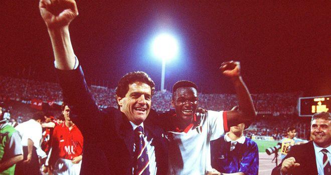 Fabio Capello and Marcel Desailly celebrate Champions League glory
