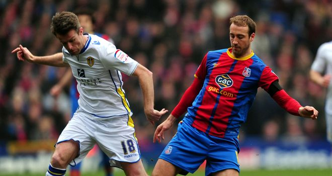 Glenn Murray (right): Battles for the ball with Michael Tonge