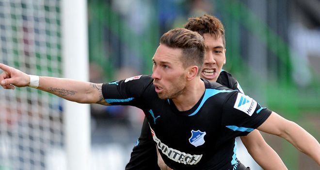 Tobias Weis celebrates his goal for Hoffenheim