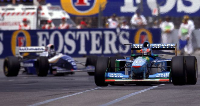 Michael Schumacher leads Damon Hill at the 1994 Australian GP