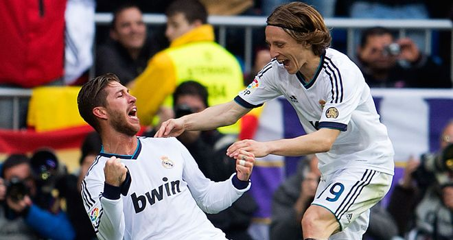 Captain Sergio Ramos celebrates after bagging El Clasico winner