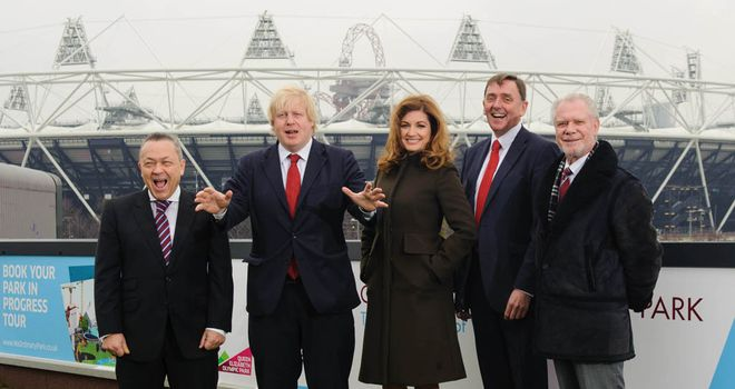 Boris Johnson (second left) with West Ham contingent outside Olympic Stadium