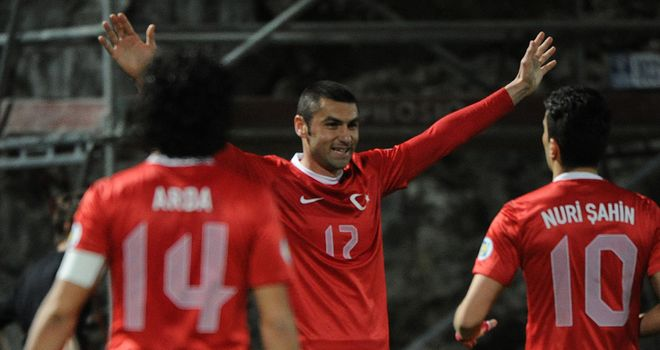 Burak Yilmaz: Celebrates after scoring against Andorra