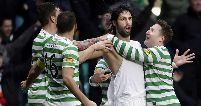 Georgios Samaras: Celtic striker celebrates his winner against Aberdeen
