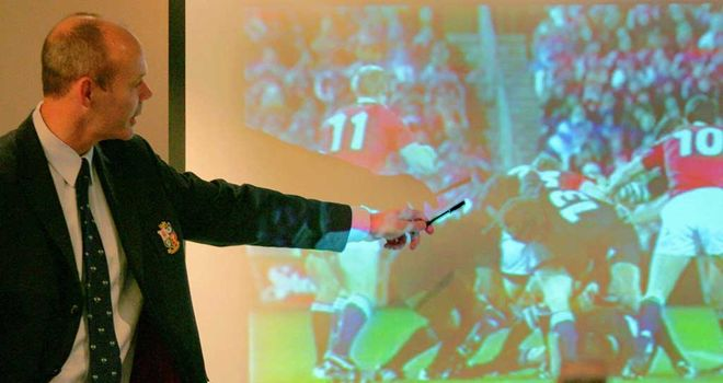 Sir Clive Woodward points out the spear tackle to a press conference in 2005