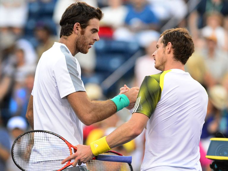 Andy Murray (r) congratulates Del Potro on his victory