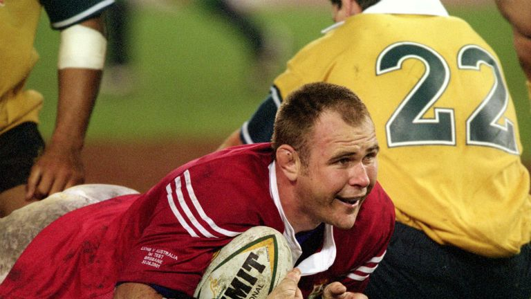Quinnell goes over for his try in the first Test