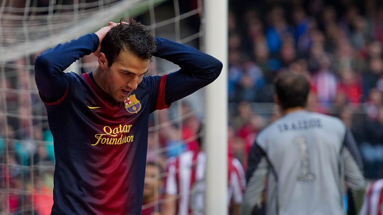 Cesc Fabregas is left frustrated for Barcelona