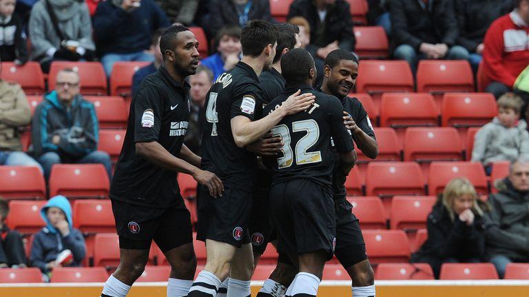 Charlton celebrate Bradley Pritchard's strike