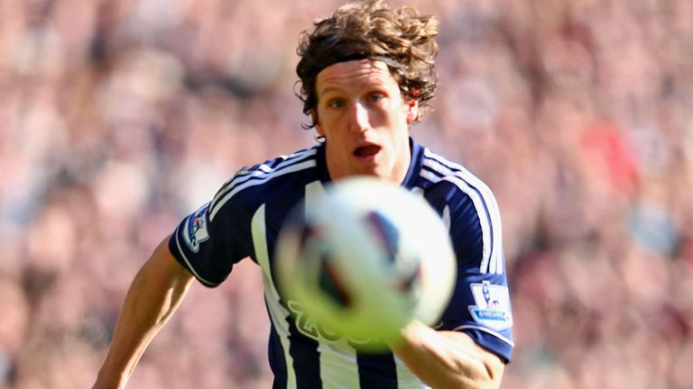 Billy Jones: West Brom defender celebrates his goal against Newcastle