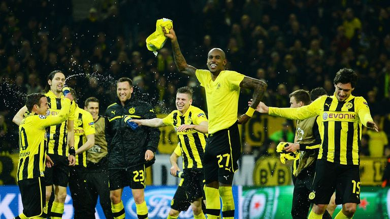Dortmund: celebrating their last-gasp winner