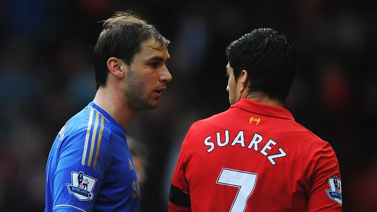 Branislav Ivanovic and Luis Suarez: Set to shake hands on Sunday