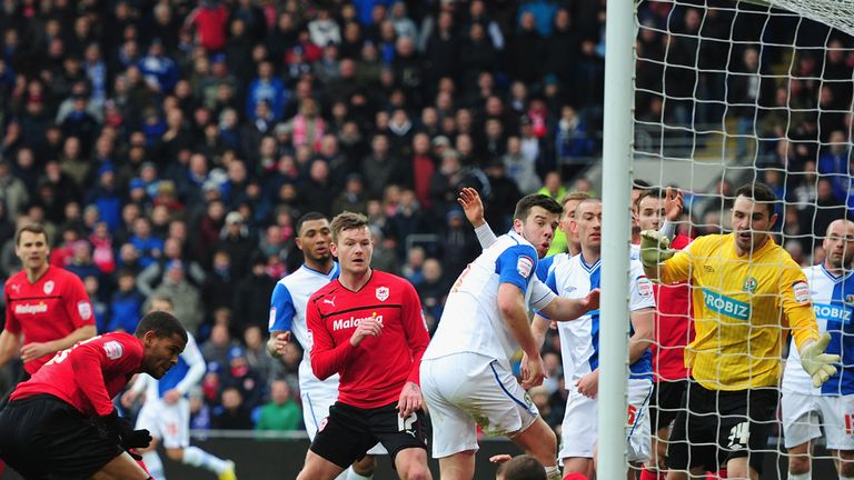 Flying high: Fraizer Campbell scores for Cardiff against Blackburn